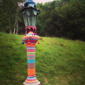 Yarn bombing at the American Museum's Kaffe Fassett exhibition