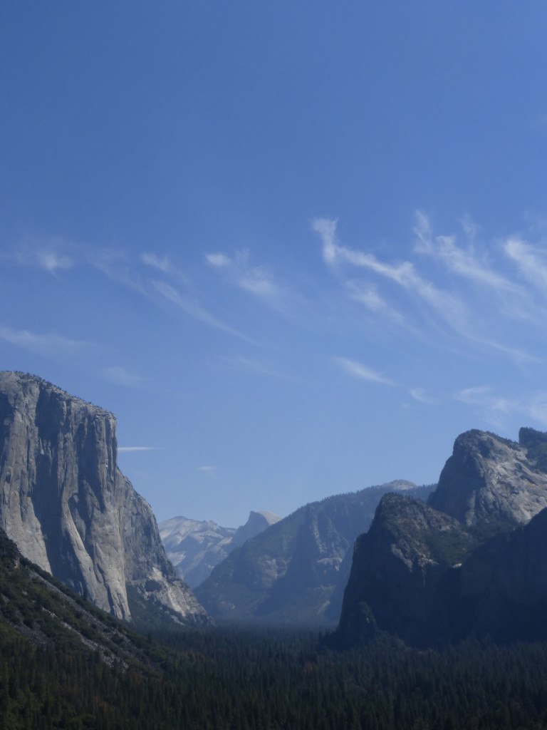 Yosemite Valley from Tunnel View. Left to right, El Capitan, Clouds Rest, Half Dome, Sentinel Dome, Cathedral Rocks and where Bridalveil Fall would be if it hadn't dried to a trickle when I took this photograph.