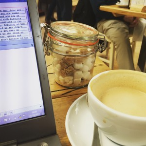 Latte and laptop - all ready for writing in one of my favourite coffee shops. Click through for the list.