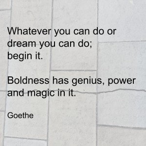 """Whatever you can do or dream you can do; begin it. Boldness has genius, power and magic in it."" Goethe."