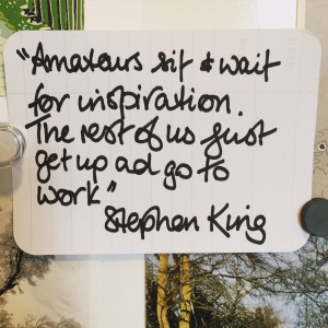 """Amateurs sit and wait for inspiration. The rest of us just get up and go to work."" Stephen King"