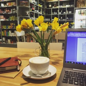 Editing in Henri, Stockbridge - one of my favourite cafes for writing in